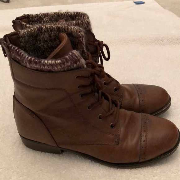 Mudd Shoes | Lace Up Boots With Knit